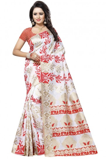 Classic White and Red Cotton Printed Saree