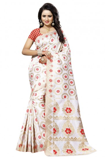Beautiful White and Red Cotton Party Wear Printed Saree With Printed Blouse