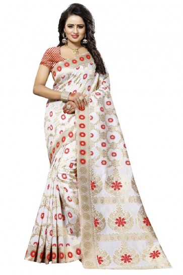 Pretty White and Red Printed Saree With Printed Blouse