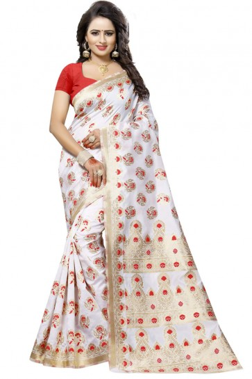 White and Red Cotton Printed Saree