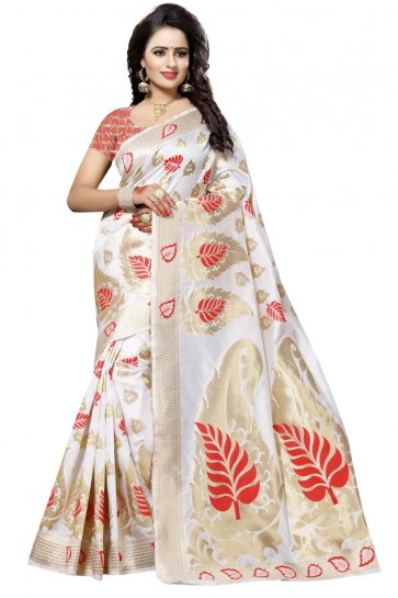 Ultimate White and Red Cotton Printed Saree