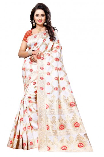 Admirable White and Red Cotton Party Wear Saree