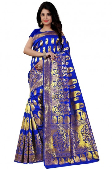Admirable Blue Cotton Printed Saree