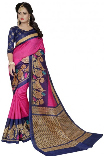 Stylish Pink and Blue Bhagalpuri Party Wear Printed Saree