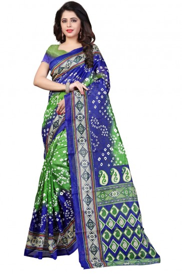Gorgeous Blue and Green Bhagalpuri Party Wear Printed Saree