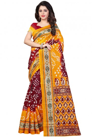 Graceful Brown and Yellow Bhagalpuri Party Wear Printed Saree