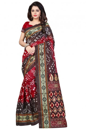 Classic Brown and Red Bhagalpuri Party Wear Printed Saree