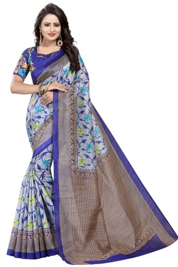 Stylish Grey and Blue Bhagalpuri Party Wear Printed Saree