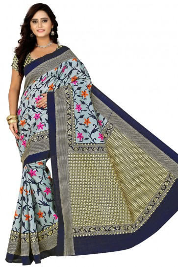Gorgeous Grey and Violet Bhagalpuri Party Wear Printed Saree