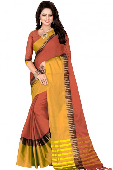 Graceful Mustard and Peach Cotton Party Wear Saree