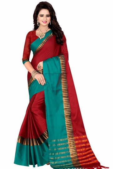 Excellent Red and Teal Pollycotton Party Wear Saree