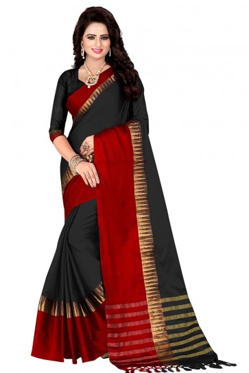 Admirable Black and Red Pollycotton Party Wear Saree