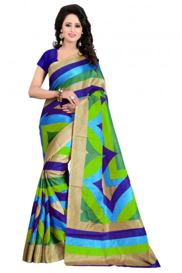Pretty Green Bhagalpuri Party Wear Saree