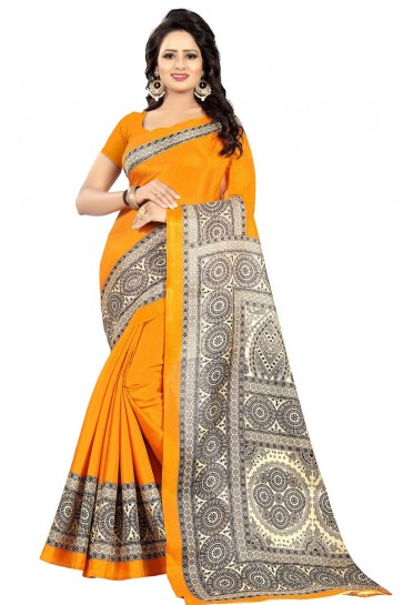 Pretty Yellow Cotton Party Wear Saree