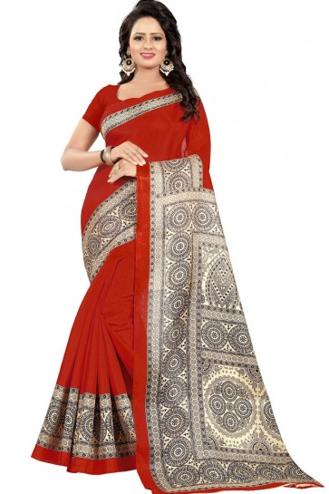Beautiful Red Khadi Cotton Party Wear Printed Saree