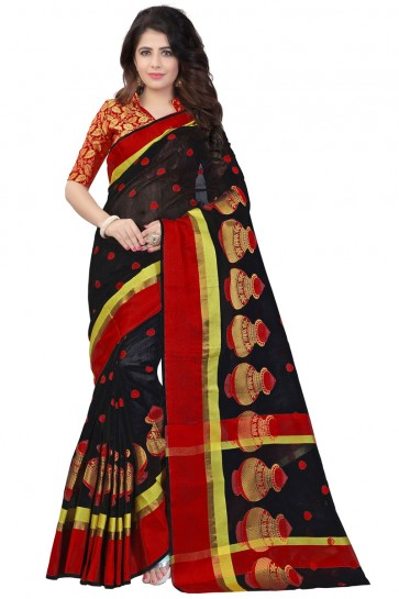 Gorgeous Black and Red Pollycotton Printed Saree