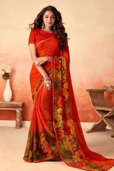 Printed Orange Chiffon Fabric Saree With Silk Blouse