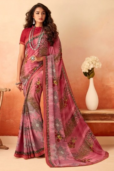 Chiffon Fabric Printed Designer Pink Lovely Saree With Silk Blouse