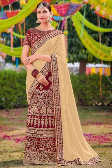 Stunning Cream And Maroon Silk And Satin Fabric Weaving Work And Embroidered Saree And Blouse