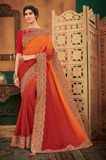 Stunning Maroon And Orange Satin And Silk Fabric Designer Embroidered Saree And Blouse