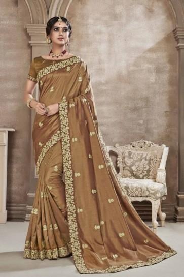 Embroidered Khaki Silk Fabric Saree And Blouse