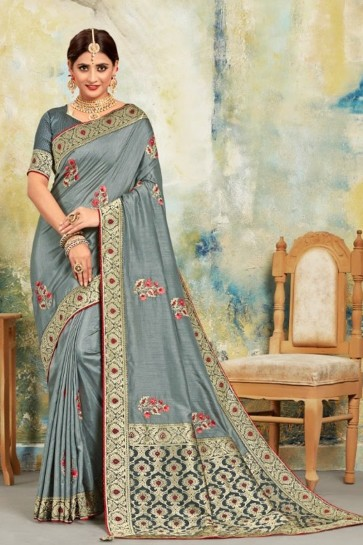 Grey Silk Fabric Jacquard Work Designer Saree And Blouse