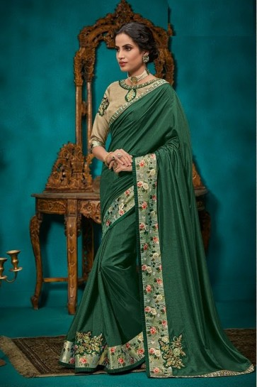 Optimum Border Work And Embroidery Green Georgette And Silk Fabric Designer Saree And Blouse
