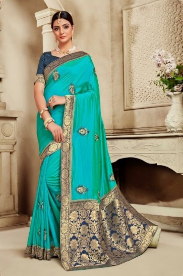 Silk Fabric Weaving Work And Jacquard Work Sky Blue Lovely Saree And Blouse