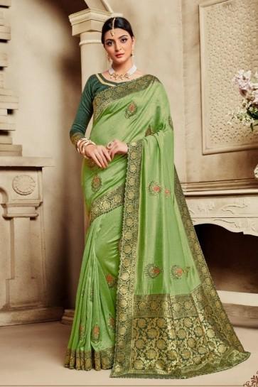 Light Green Silk Fabric Weaving Work And Jacquard Work Saree And Blouse