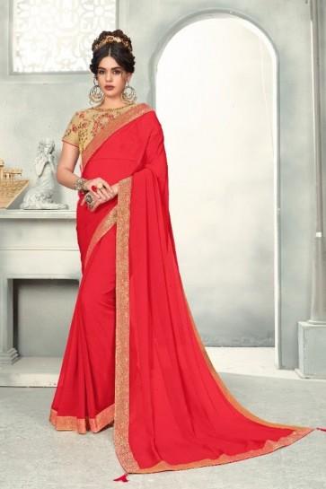 Zari Work And Border Work Pink Chiffon Fabric Saree And Blouse