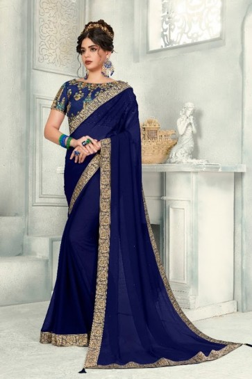 Zari Work And Border Work Navy Blue Chiffon Fabric Saree And Blouse