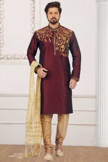 Stylish Maroon Banarasi Silk Designer Embroidered Kurta Pajama