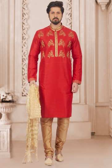 Red Banarasi Silk Designer Embroidered Kurta Pajama