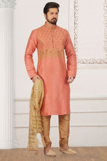 Embroidered Peach Banarasi Silk Designer Kurta Pajama