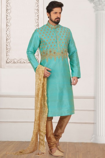 Beautiful Turquoise Banarasi Silk Designer Embroidered Kurta Pajama