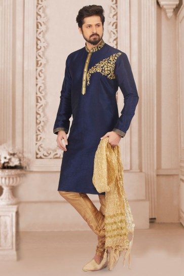 Admirable Navy Blue Banarasi Silk Designer Embroidered Kurta Pajama