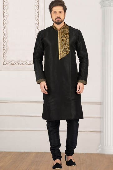 Lovely Black Banarasi Silk Designer Embroidered Kurta Pajama