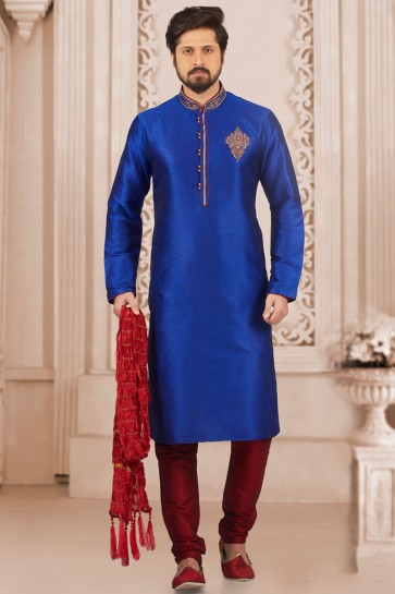 Gorgeous Blue Banarasi Silk Designer Embroidered Kurta Pajama