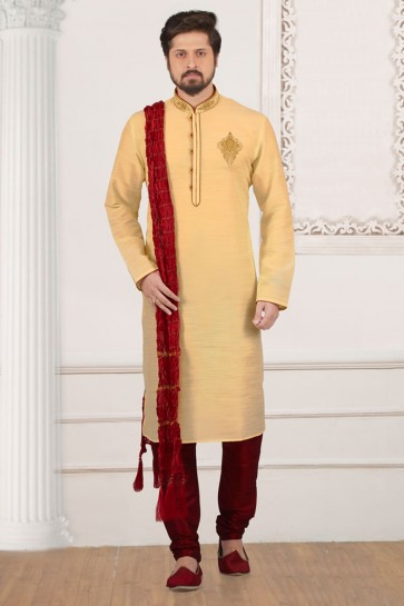 Optimum Cream Banarasi Silk Designer Embroidered Kurta Pajama