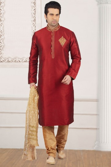 Embroidered Maroon Banarasi Silk Designer Embroidered Kurta Pajama