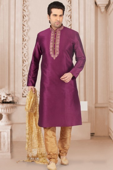 Ultimate Violet Banarasi Silk Embroidered Kurta Pajama