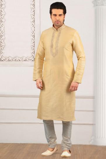 Cream Banarasi Silk Embroidered Designer Kurta Pajama