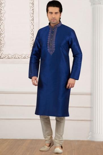 Blue Banarasi Silk Embroidered Designer Kurta Pajama