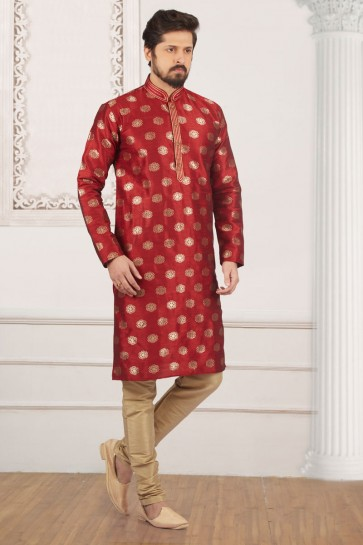 Stylish Maroon Jacquard and Silk Kurta Pajama