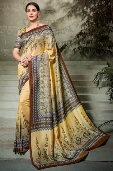 Stylish Beige Printed Silk Saree And Blouse