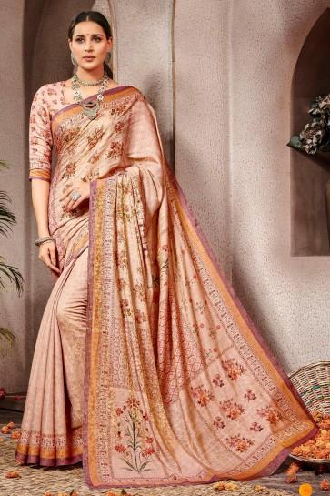 Beautiful Wine Printed Designer Silk Saree And Blouse