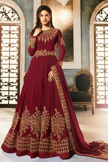 Amyra Dastur Designer Maroon Embroidered Abaya Style Anarkali Suit With Georgette Dupatta