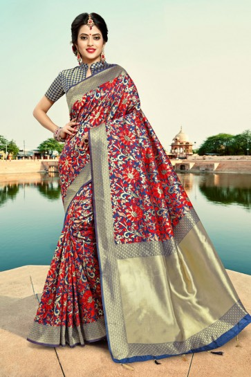Excellent Wear Blue Weaving Work And Zari Work Silk Saree And Blouse