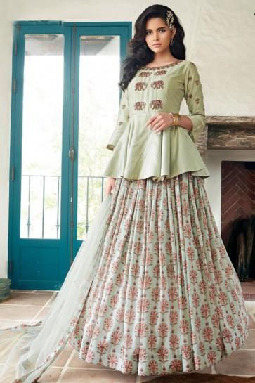 Hand Work Designer Pista Silk Fabric Abaya Style Anarkali Suit With Net Dupatta