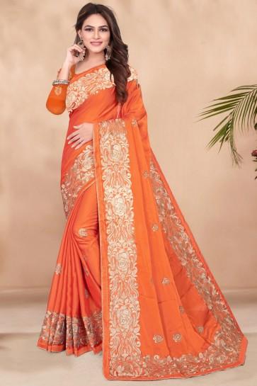 Sequins Work Designer Orange Rangoli Fabric Stylish Saree And Blouse